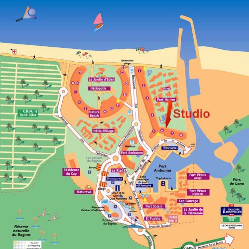 Cap d'Agde Naturist Port Nature Sea View map